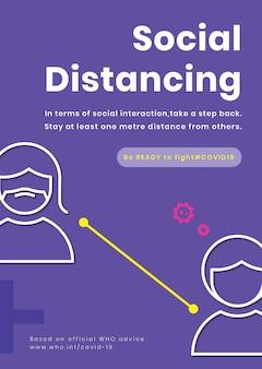 Plakat dotyczący dystansu społecznego koronawirusa