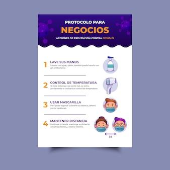 Plakat dotyczący protokołu koronawirusa dla firm