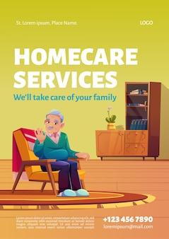 Plakat dotyczący usług opieki domowej.