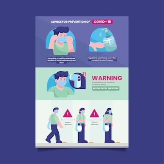 Plakat dotyczący zapobiegania koronawirusom dla sklepów