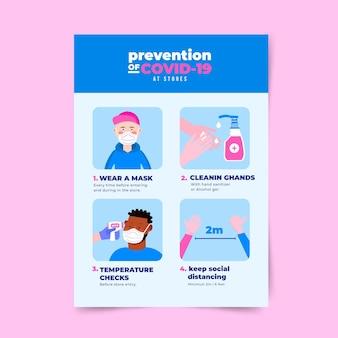 Plakat dotyczący zapobiegania koronawirusowi do projektowania sklepów