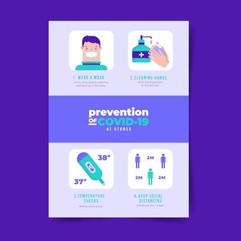 Plakat dotyczący zapobiegania koronawirusowi w stylu sklepów