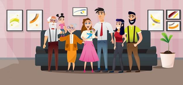 Plakat duża rodzina cztery pokolenia cartoon flat.