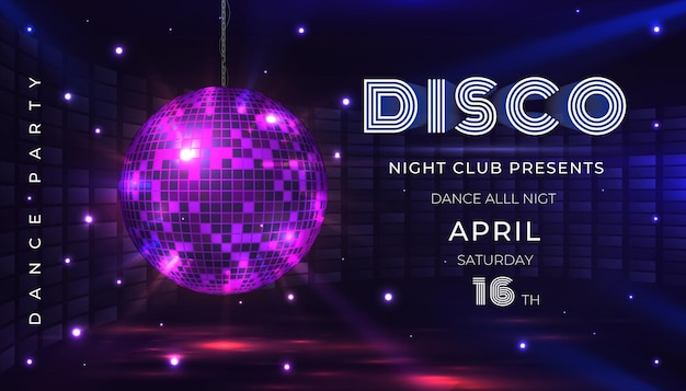 Plakat dyskotekowy. ulotka z tańcami i muzyką na noc z kulą disco z lat 80. i efektami świetlnymi. ilustracja wektorowa zaprosić na uroczystość glamour z banerem lustrzanej kuli