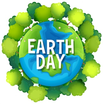 Plakat dzień ziemi z drzewami