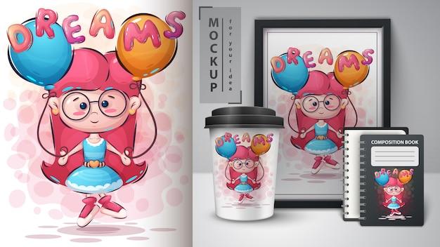 Plakat dziewczynki i merchandising