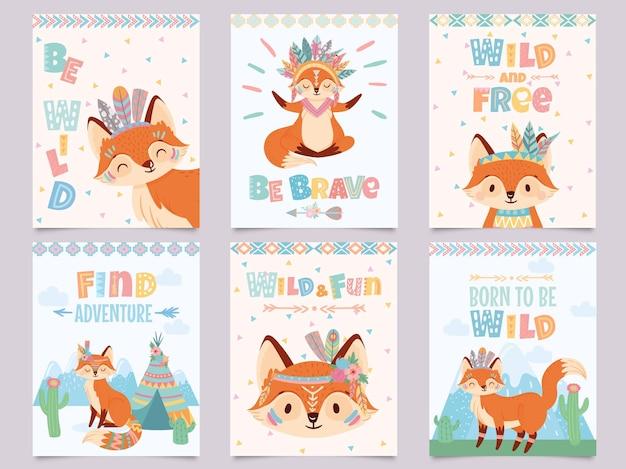 Plakat dziki lis plemienny. bądź odważny, znajdź przygodę i wolne lisy