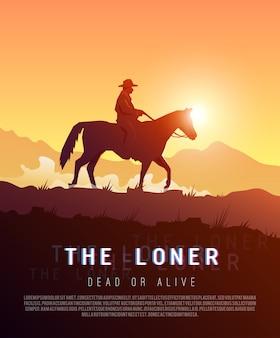 Plakat dziki zachód. samotnik