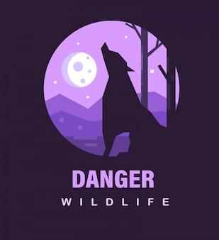 Plakat dzikiej przyrody lub ikona niebezpieczeństwa. niebezpieczna przyroda z wilkołakiem i księżycem.