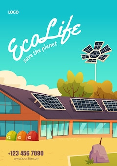 Plakat eco life z nowoczesnym domem z panelami słonecznymi i koszami na śmieci do recyklingu. ulotka z kreskówkowym krajobrazem z ekologicznym domem. koncepcja energii odnawialnej i zero waste