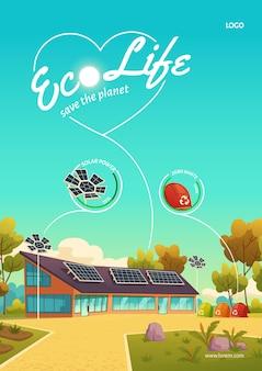 Plakat eco life z nowoczesnym domem z panelami słonecznymi i koszami na śmieci do recyklingu.