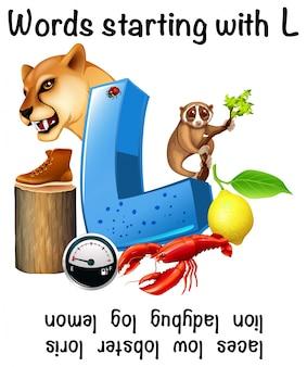 Plakat edukacyjny dla słów zaczynający się na literę l