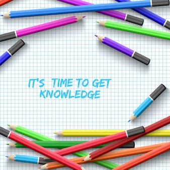 Plakat edukacyjny z kolorowymi kredkami