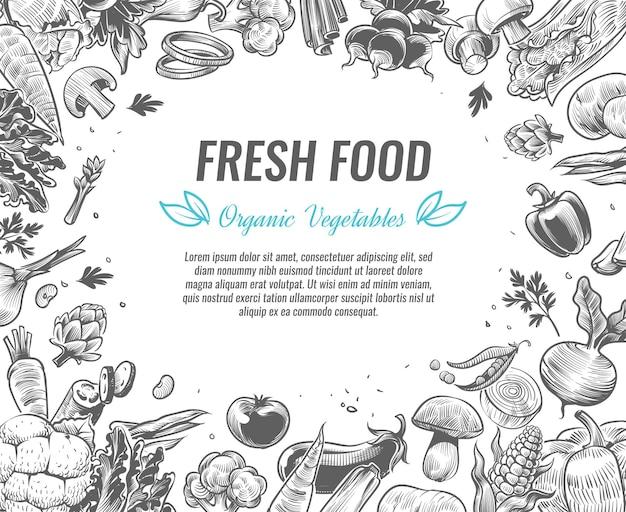 Plakat ekologicznej żywności roślinnej