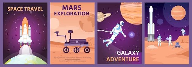 Plakat eksploracji kosmosu. galaktyczny krajobraz z rakietą, planetami i astronautą. łazik marsjański na powierzchni planety. kosmiczna nauka transparent wektor zestaw. plakat ilustracyjny planety, galaktyki i eksploracji mars