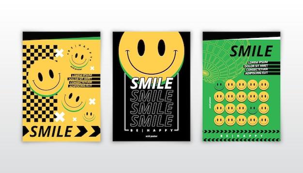Plakat emoji z płaskim kwasem