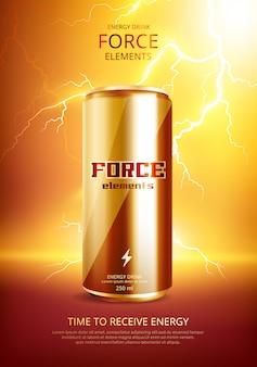 Plakat energy drink metal can
