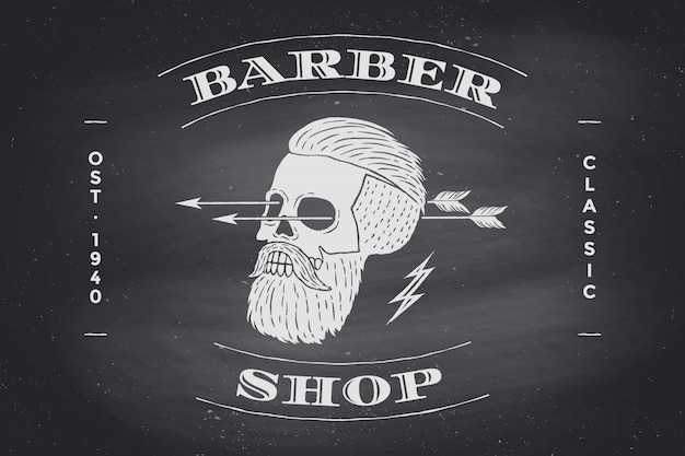 Plakat etykiety barber shop na czarnej tablicy