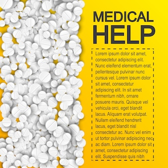 Plakat farmaceutycznej pomocy medycznej z lekami pigułki i miejscem na tekst na żółto
