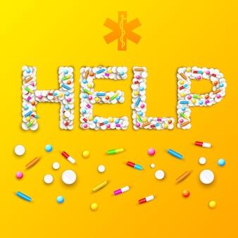 Plakat farmaceutyczny medyczny z pigułkami i lekami w kształcie słowa pomocy na pomarańczowo