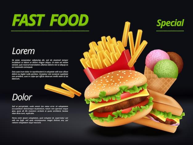 Plakat fast food. burger składników wołowiny ser pomidorowy kanapka posiłek retro reklama plakat szablon