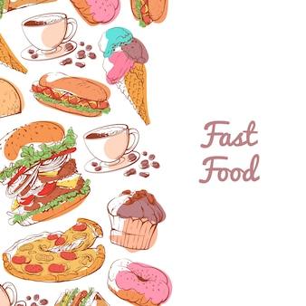 Plakat fast food z przygotowanymi przekąskami
