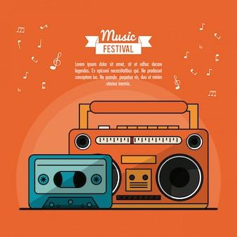 Plakat festiwal muzyczny z kasetowym magnetofonem i kasetową taśmą