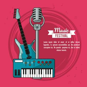 Plakat festiwal muzyczny z klawiaturą i mikrofonem na gitarze elektrycznej