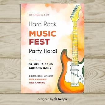 Plakat festiwal muzyki gitara elektryczna akwarela