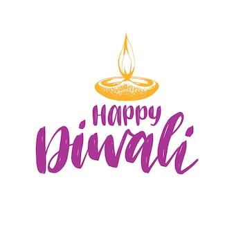 Plakat festiwalu diwali z napisem odręcznym. ilustracja lampa na indyjskie wakacje karty okolicznościowe lub zaproszenie.