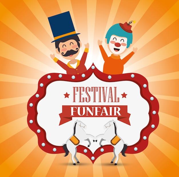 Plakat festiwalu funfair klaun i konie zabawy