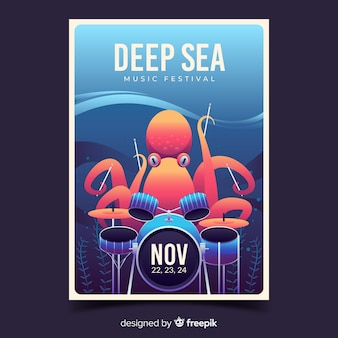 Plakat festiwalu głębinowych z gradientową ilustracją