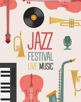 Plakat festiwalu jazzowego z instrumentami i napisem ilustracji wektorowych