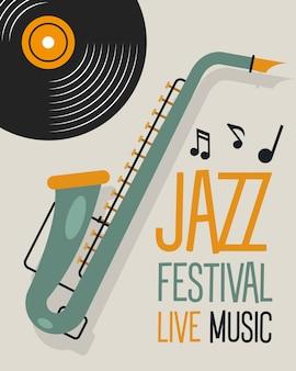 Plakat festiwalu jazzowego z projektem ilustracji wektorowych saksofonu i dysku winylowego