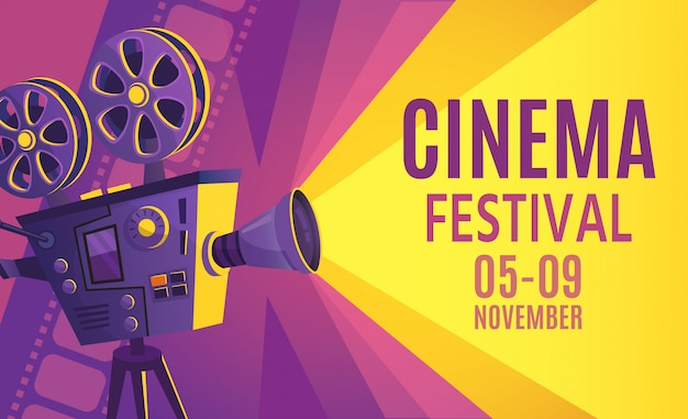 Plakat festiwalu kina. filmowy billboard, retro film kamera i kinowa projektor kreskówki ilustracja