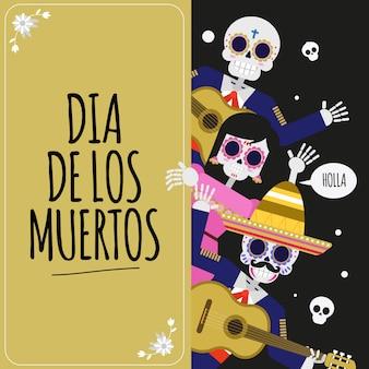 Plakat festiwalu meksykańskiego dead skull dia de muertos