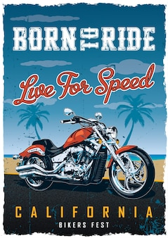 Plakat festiwalu motocyklistów z motocyklem na drodze z plażą