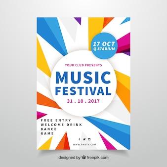 Plakat festiwalu muzycznego z geometrycznym stylem