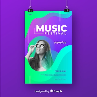 Plakat festiwalu muzycznego ze zdjęciem