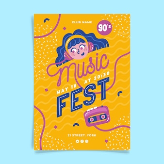 Plakat festiwalu muzyki ilustrowany projekt