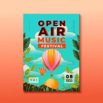 Plakat festiwalu muzyki na świeżym powietrzu i szablon balonów na ogrzane powietrze
