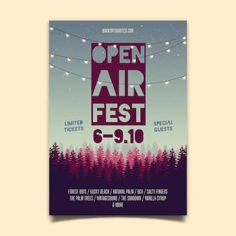 Plakat festiwalu muzyki na świeżym powietrzu