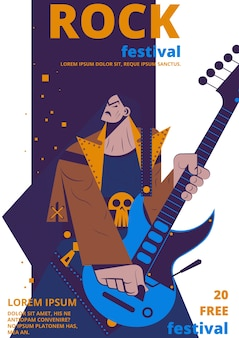 Plakat festiwalu muzyki rockowej. plakat koncert rocker lub bilet płaski kreskówka wejście