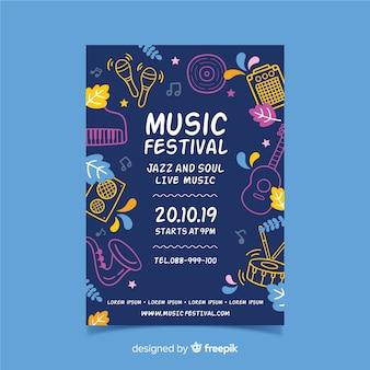Plakat festiwalu muzyki sylwetki instrumentów