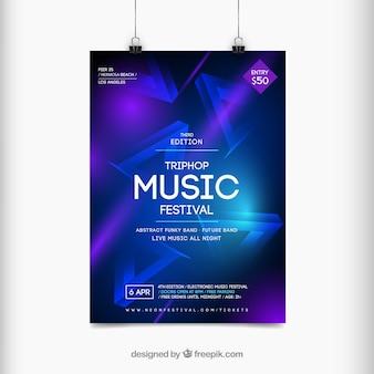 Plakat festiwalu muzyki w stylu abstrakcyjnym