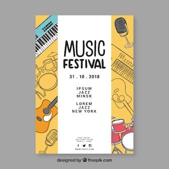Plakat festiwalu muzyki wyciągnąć rękę instrumentów