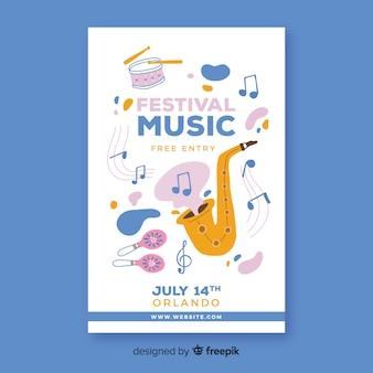 Plakat festiwalu muzyki wyciągnąć rękę