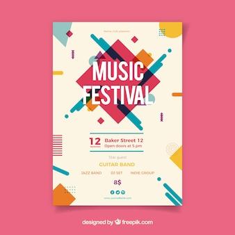 Plakat festiwalu muzyki z instrumentami w stylu płaski