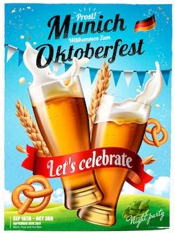 Plakat festiwalu oktoberfest, rozpryskiwania piwa z preclem i pszenicą na białym tle na niebieskim niebie na ilustracji 3d, oktoberfest oznacza festiwal piwa w języku niemieckim