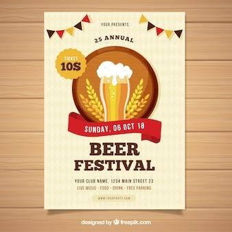 Plakat festiwalu piwa z płaskim wzorem
